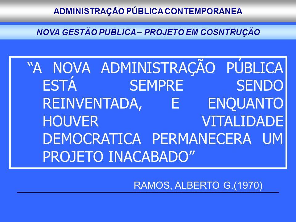 ADMINISTRAÇÃO PÚBLICA CONTEMPORANEA A NOVA ADMINISTRAÇÃO PÚBLICA ESTÁ SEMPRE SENDO REINVENTADA, E ENQUANTO HOUVER VITALIDADE DEMOCRATICA PERMANECERA U