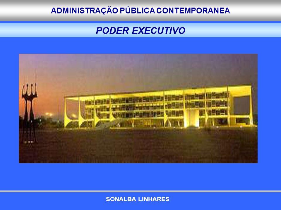 ADMINISTRAÇÃO PÚBLICA CONTEMPORANEA a)A ERA DASP (1930-1945) ESTRATÉGIA E ARQUITETURA UTILIZADAS ESTRATÉGIA E ARQUITETURA UTILIZADAS Estratégia global e centralizadora Burocracia central – Criação do DASP para efetivar o modelo centralizador de Estado Nomeação de Interventores para os estados Papel normatizador, controlador e executor Sistema de mérito como pedra angular PRINCIPIOS PRINCIPIOS Centralização Padronização/homogeneidade Controle AS REFORMAS EXPERIMENTADAS SONALBA LINHARES