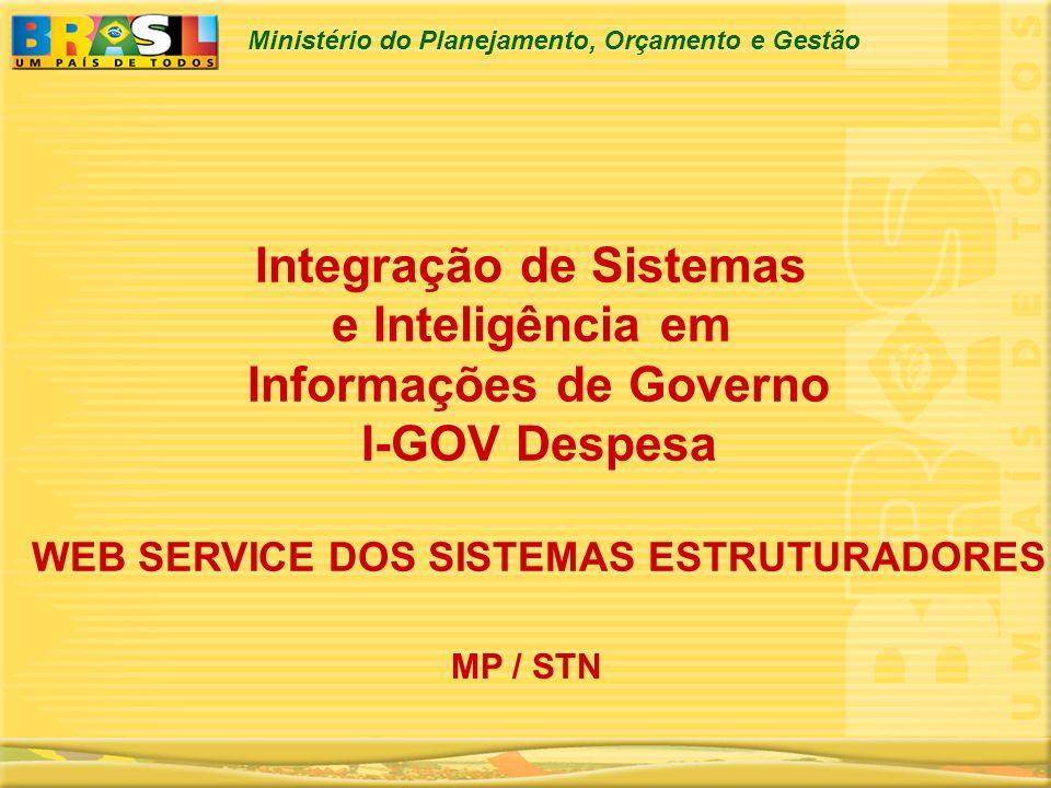 Ministério do Planejamento, Orçamento e Gestão Integração de Sistemas e Inteligência em Informações de Governo I-GOV Despesa WEB SERVICE DOS SISTEMAS