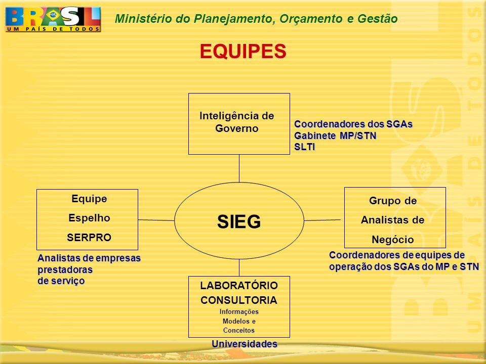 Ministério do Planejamento, Orçamento e Gestão Inteligência de Governo Coordenadores dos SGAs Gabinete MP/STN SLTI Equipe Espelho SERPRO Analistas de