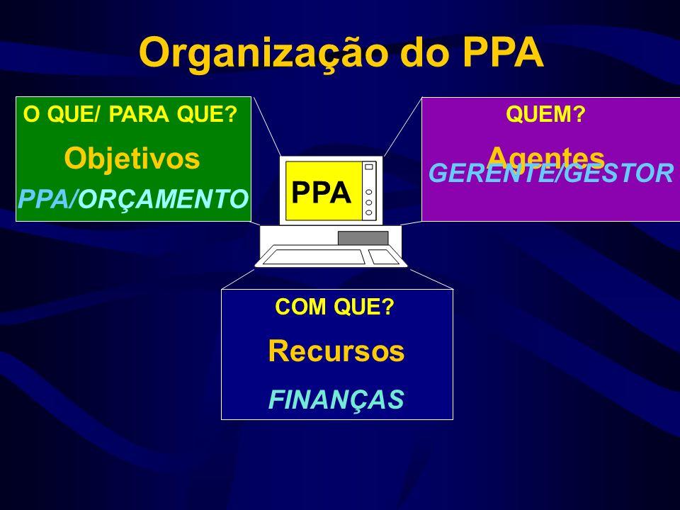 Organização do PPA Objetivos Agentes O QUE/ PARA QUE?QUEM.
