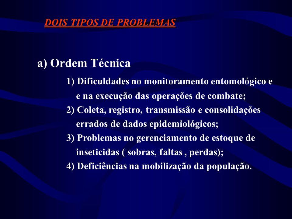 DOIS TIPOS DE PROBLEMAS a) Ordem Técnica e b) Irregularidades