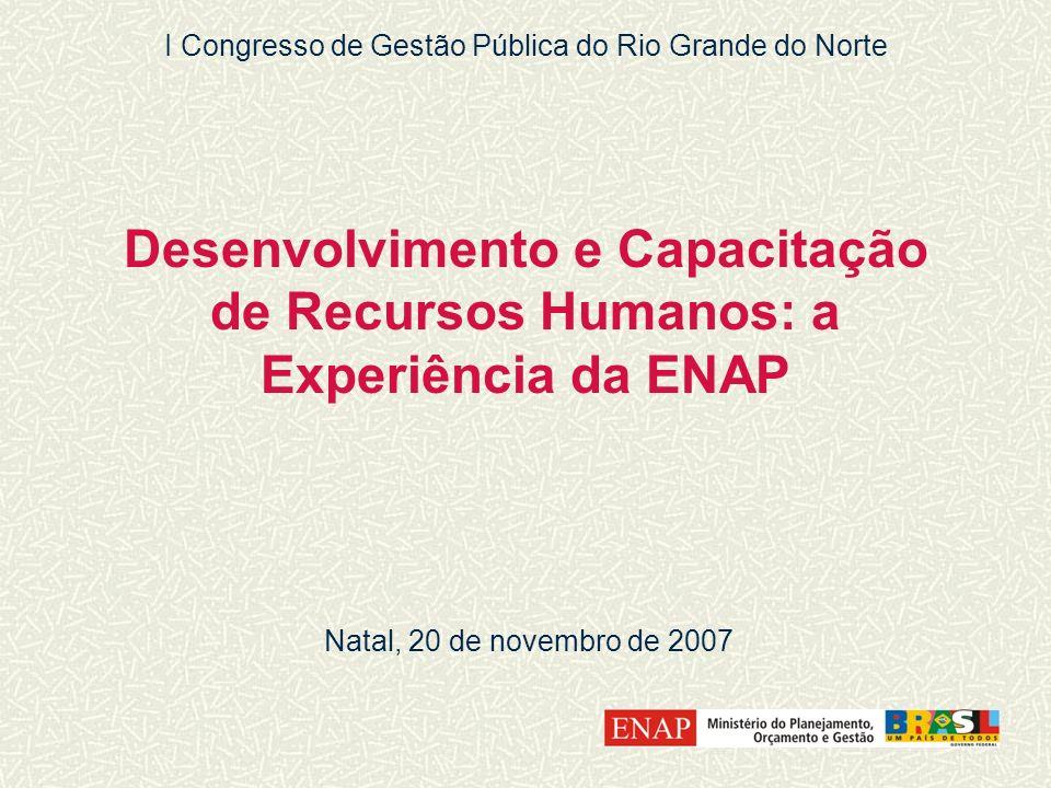 Desenvolvimento e Capacitação de Recursos Humanos: a Experiência da ENAP Natal, 20 de novembro de 2007 I Congresso de Gestão Pública do Rio Grande do