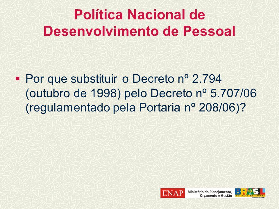 Política Nacional de Desenvolvimento de Pessoal Por que substituir o Decreto nº 2.794 (outubro de 1998) pelo Decreto nº 5.707/06 (regulamentado pela P