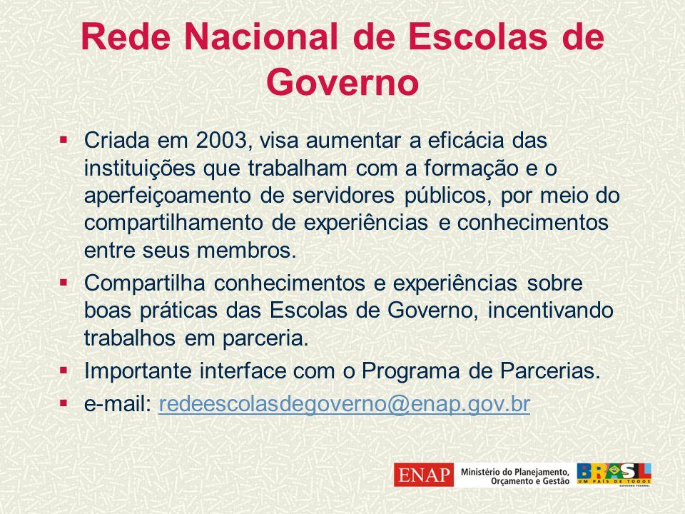 Rede Nacional de Escolas de Governo Criada em 2003, visa aumentar a eficácia das instituições que trabalham com a formação e o aperfeiçoamento de serv