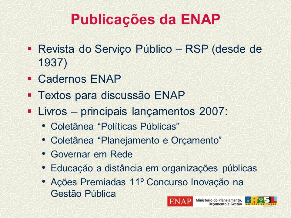 Publicações da ENAP Revista do Serviço Público – RSP (desde de 1937) Cadernos ENAP Textos para discussão ENAP Livros – principais lançamentos 2007: Co
