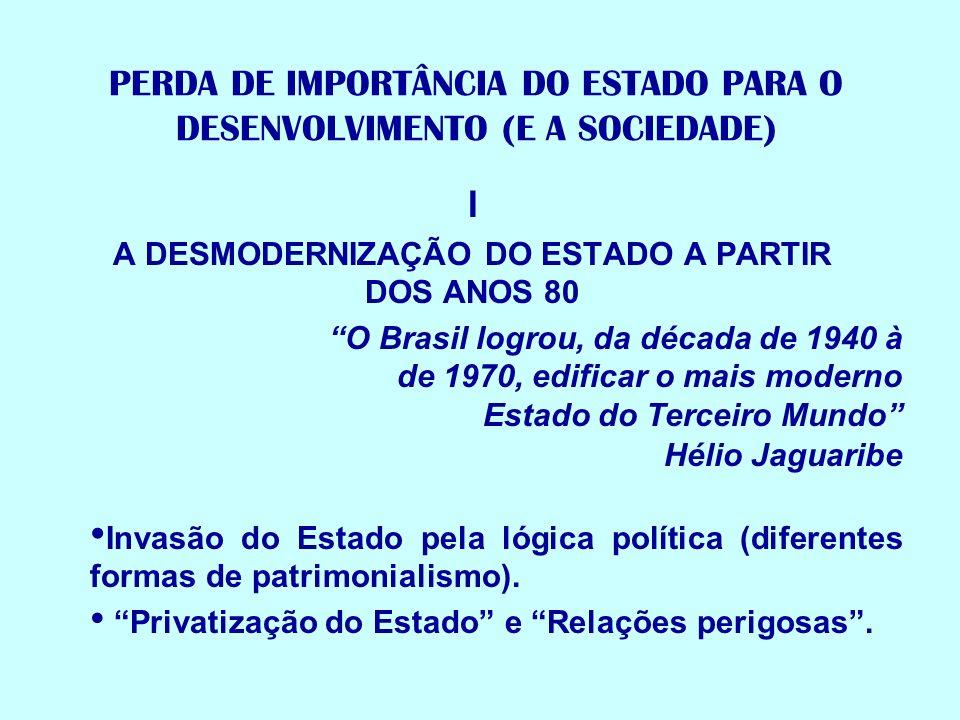 PERDA DE IMPORTÂNCIA DO ESTADO PARA O DESENVOLVIMENTO (E A SOCIEDADE) I A DESMODERNIZAÇÃO DO ESTADO A PARTIR DOS ANOS 80 O Brasil logrou, da década de