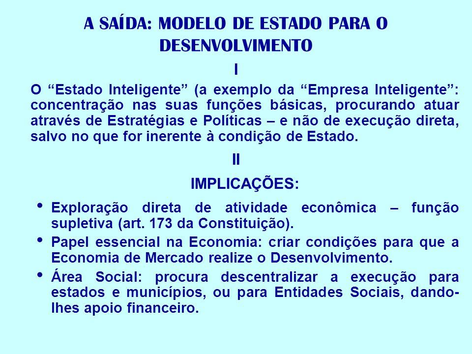 A SAÍDA: MODELO DE ESTADO PARA O DESENVOLVIMENTO I O Estado Inteligente (a exemplo da Empresa Inteligente: concentração nas suas funções básicas, proc