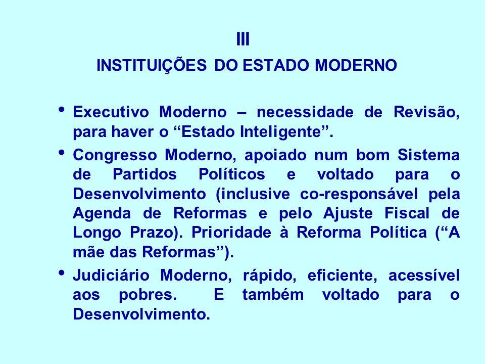 III INSTITUIÇÕES DO ESTADO MODERNO Executivo Moderno – necessidade de Revisão, para haver o Estado Inteligente. Congresso Moderno, apoiado num bom Sis