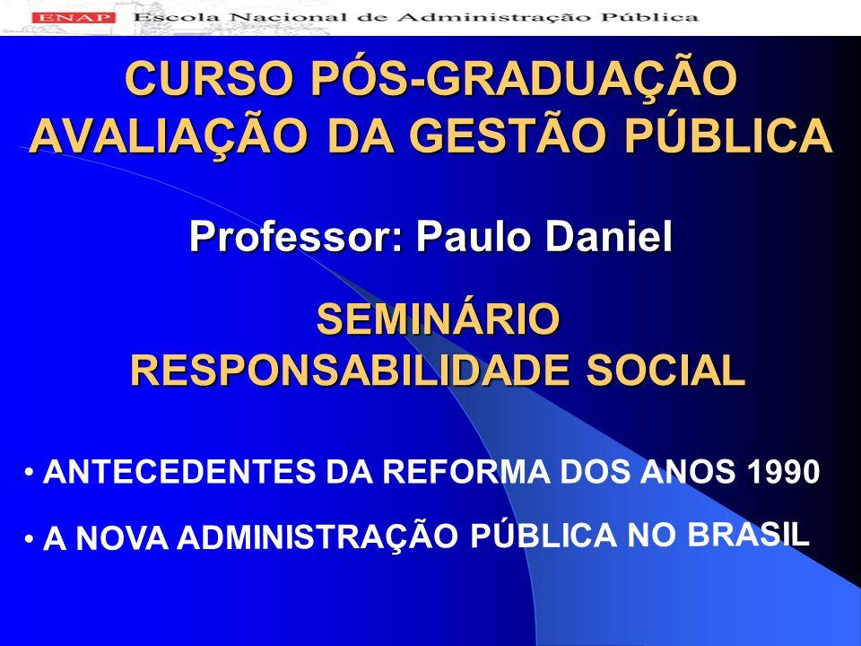 A NOVA ADMINISTRAÇÃO PÚBLICA NO BRASIL CURSO PÓS-GRADUAÇÃO AVALIAÇÃO DA GESTÃO PÚBLICA Professor: Paulo Daniel SEMINÁRIO RESPONSABILIDADE SOCIAL ANTEC