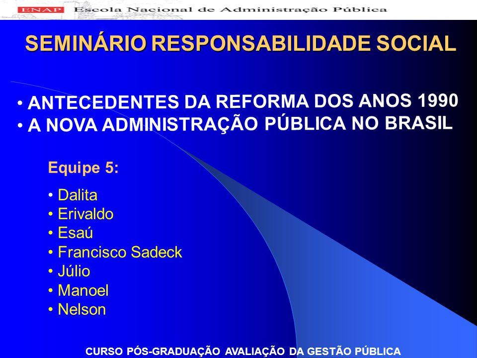 SEMINÁRIO RESPONSABILIDADE SOCIAL Equipe 5: Dalita Erivaldo Esaú Francisco Sadeck Júlio Manoel Nelson CURSO PÓS-GRADUAÇÃO AVALIAÇÃO DA GESTÃO PÚBLICA