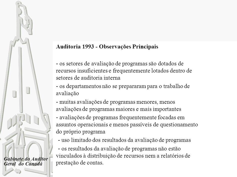 Gabinete do Auditor Geral do Canadá Auditoria 1993 - Observações Principais - os setores de avaliação de programas são dotados de recursos insuficient