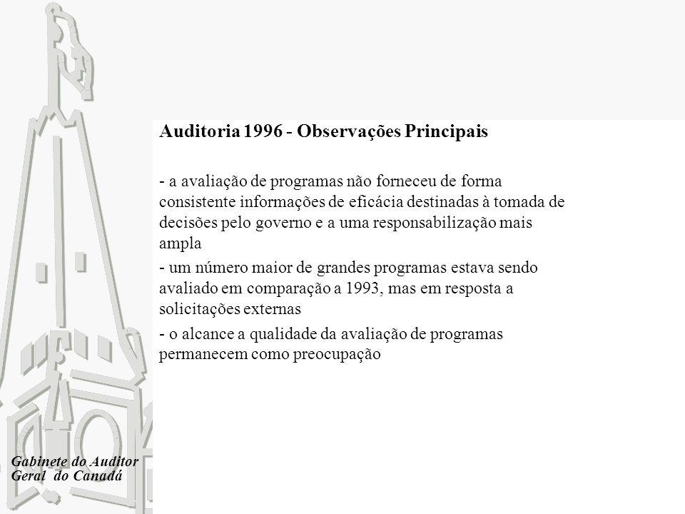 Gabinete do Auditor Geral do Canadá Auditoria 1996 - Observações Principais - a avaliação de programas não forneceu de forma consistente informações d
