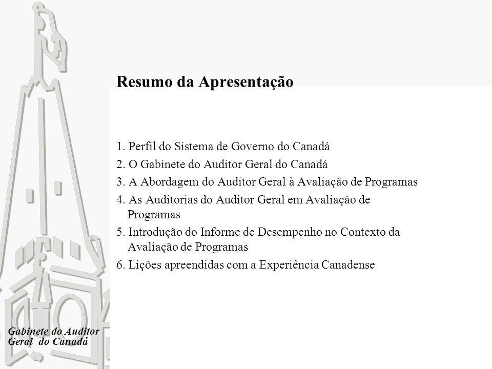 Gabinete do Auditor Geral do Canadá Resumo da Apresentação 1. Perfil do Sistema de Governo do Canadá 2. O Gabinete do Auditor Geral do Canadá 3. A Abo