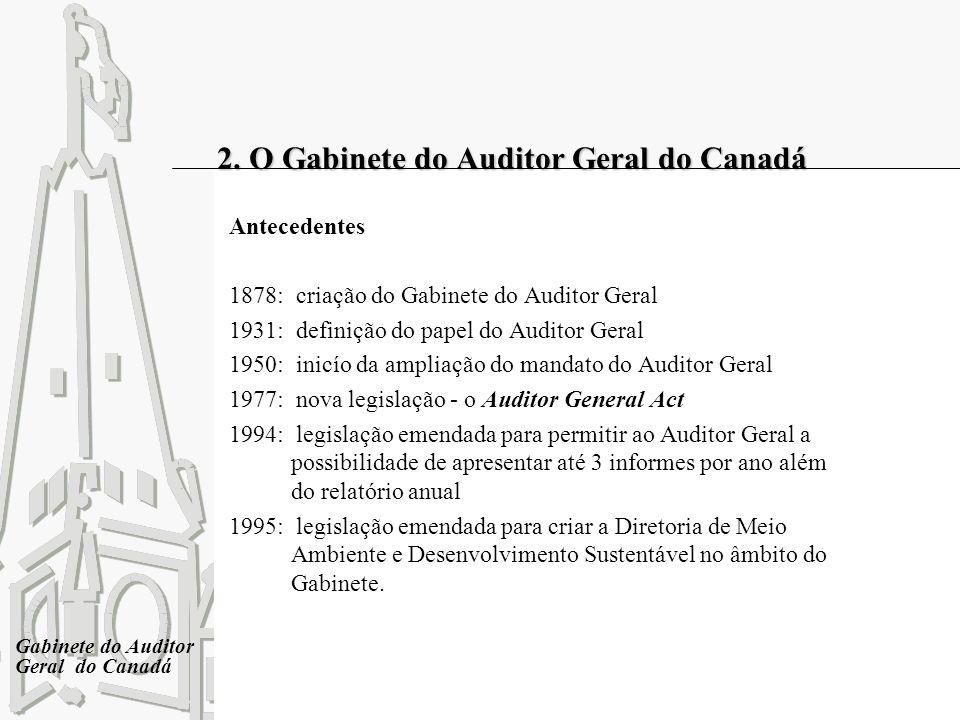 Gabinete do Auditor Geral do Canadá 2. O Gabinete do Auditor Geral do Canadá Antecedentes 1878: criação do Gabinete do Auditor Geral 1931: definição d