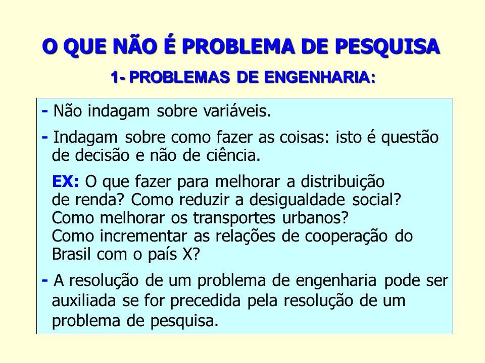 O QUE NÃO É PROBLEMA DE PESQUISA 1- PROBLEMAS DE ENGENHARIA: 1- PROBLEMAS DE ENGENHARIA: - Não indagam sobre variáveis. - Indagam sobre como fazer as