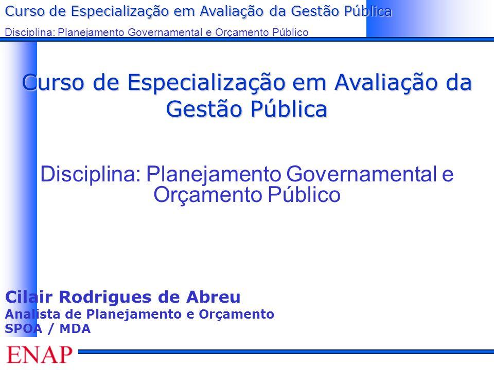Curso de Especialização em Avaliação da Gestão Pública Disciplina: Planejamento Governamental e Orçamento Público Princípios do modelo de gestão orientada para resultados Orientação para o cidadão; Transparência; Responsabilização; Participação.