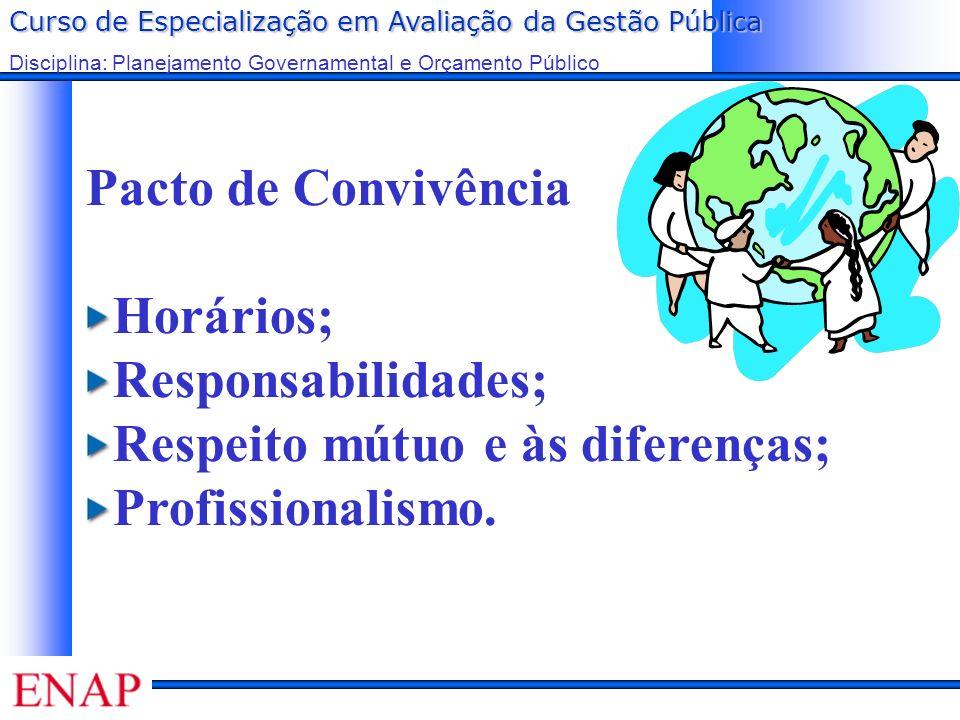 Curso de Especialização em Avaliação da Gestão Pública Disciplina: Planejamento Governamental e Orçamento Público Pacto de Convivência Horários; Responsabilidades; Respeito mútuo e às diferenças; Profissionalismo.