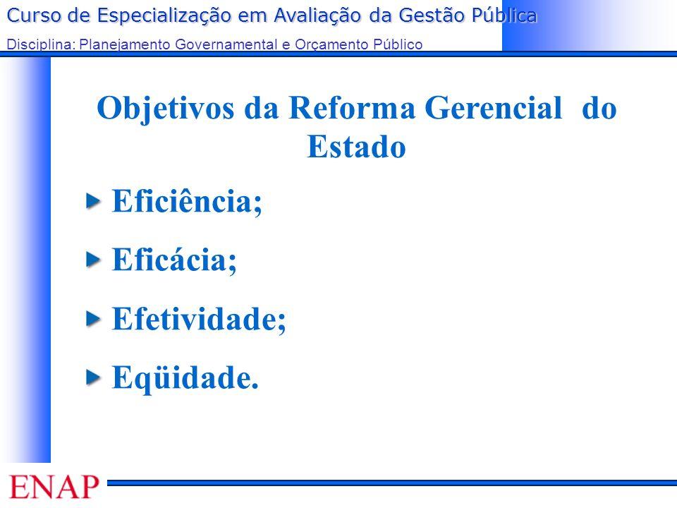 Curso de Especialização em Avaliação da Gestão Pública Disciplina: Planejamento Governamental e Orçamento Público Objetivos da Reforma Gerencial do Estado Eficiência; Eficácia; Efetividade; Eqüidade.