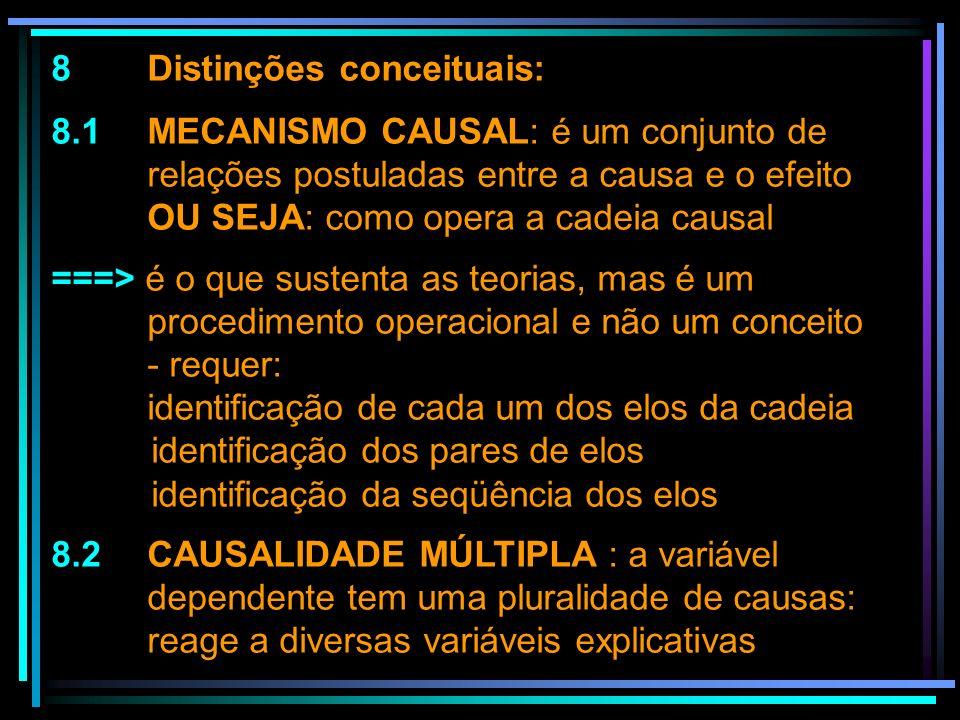 8 Distinções conceituais: 8.1 MECANISMO CAUSAL: é um conjunto de relações postuladas entre a causa e o efeito OU SEJA: como opera a cadeia causal ===>