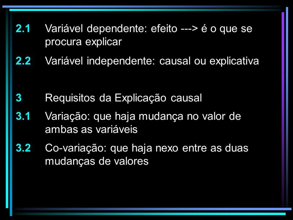 2.1 Variável dependente: efeito ---> é o que se procura explicar 2.2 Variável independente: causal ou explicativa 3 Requisitos da Explicação causal 3.