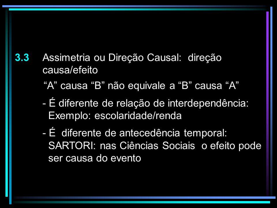 3.3 Assimetria ou Direção Causal: direção causa/efeito A causa B não equivale a B causa A - É diferente de relação de interdependência: Exemplo: escol