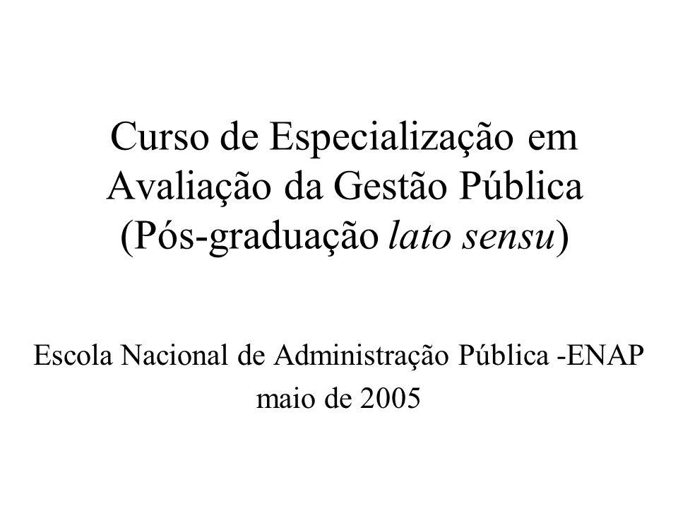 Curso de Especialização em Avaliação da Gestão Pública (Pós-graduação lato sensu) Escola Nacional de Administração Pública -ENAP maio de 2005