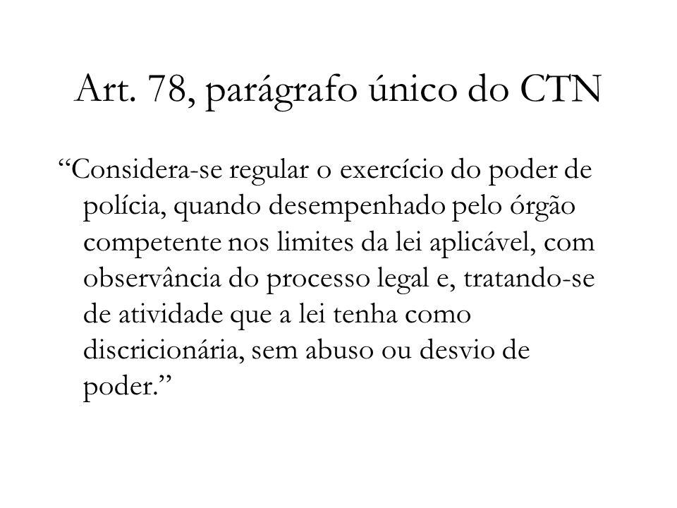 Art. 78, parágrafo único do CTN Considera-se regular o exercício do poder de polícia, quando desempenhado pelo órgão competente nos limites da lei apl