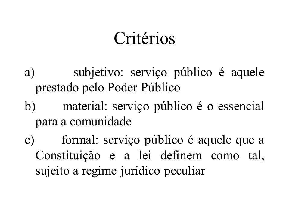 Critérios a) subjetivo: serviço público é aquele prestado pelo Poder Público b) material: serviço público é o essencial para a comunidade c) formal: s