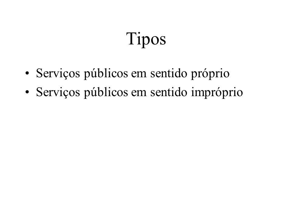 Tipos Serviços públicos em sentido próprio Serviços públicos em sentido impróprio