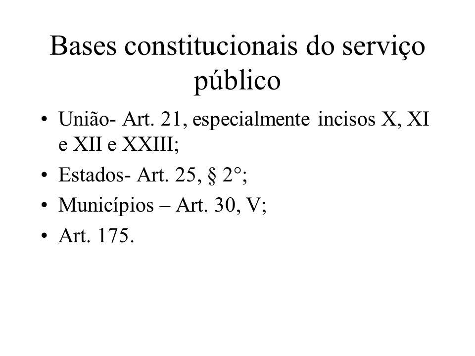 Bases constitucionais do serviço público União- Art. 21, especialmente incisos X, XI e XII e XXIII; Estados- Art. 25, § 2°; Municípios – Art. 30, V; A