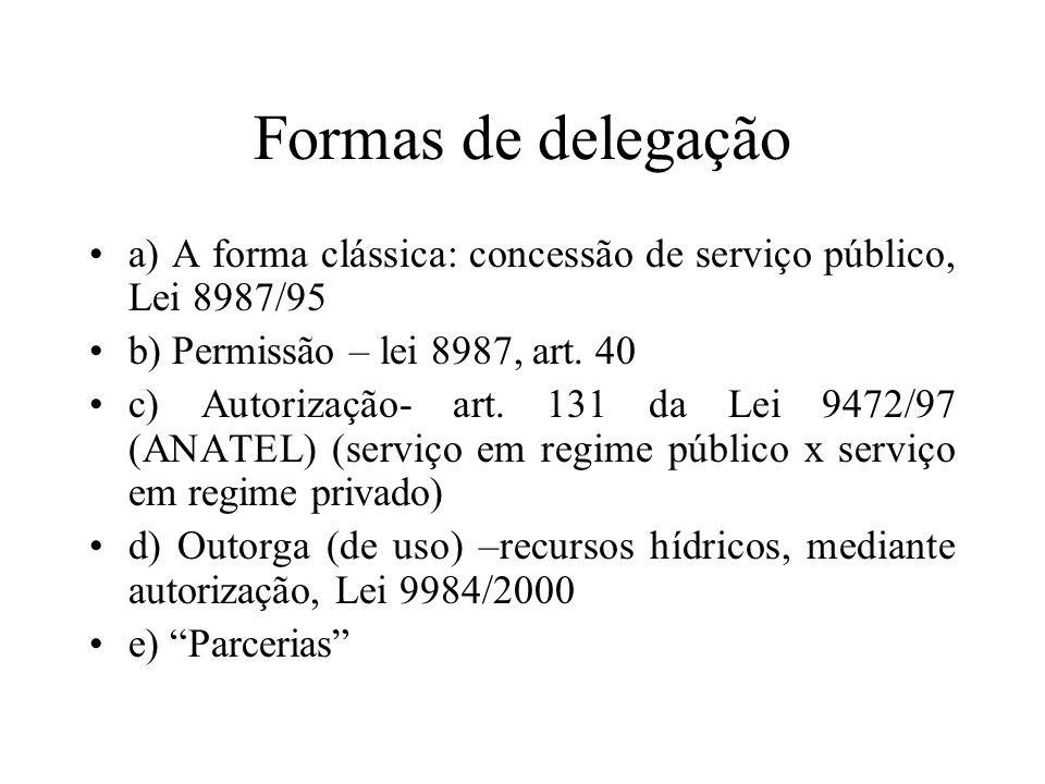 Formas de delegação a) A forma clássica: concessão de serviço público, Lei 8987/95 b) Permissão – lei 8987, art. 40 c) Autorização- art. 131 da Lei 94