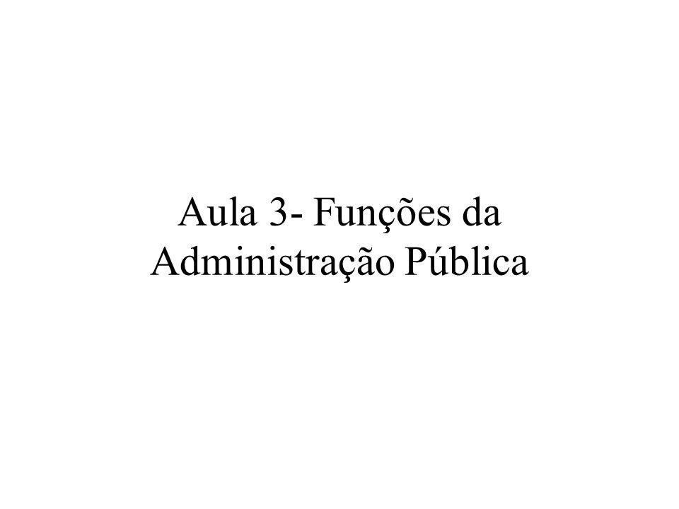 Funções da Administração Pública Poder de polícia ou função ordenadora Serviço público ou função prestacional Intervenção (art.