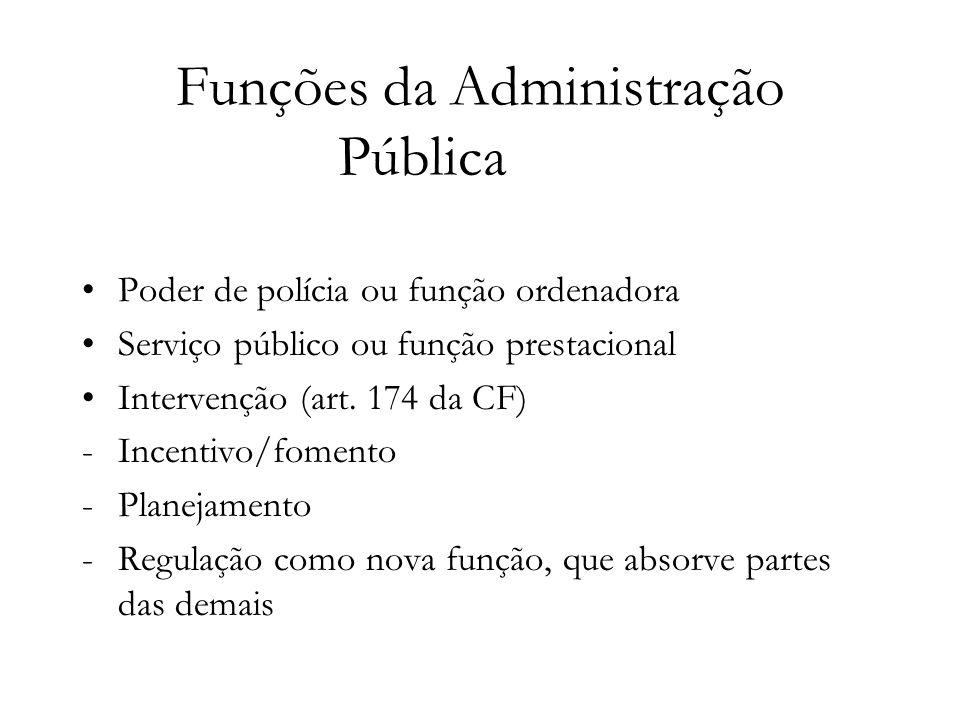 Funções da Administração Pública Poder de polícia ou função ordenadora Serviço público ou função prestacional Intervenção (art. 174 da CF) -Incentivo/