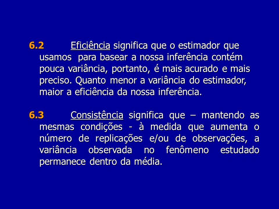 6.3Consistência significa que – mantendo as mesmas condições - à medida que aumenta o número de replicações e/ou de observações, a variância observada