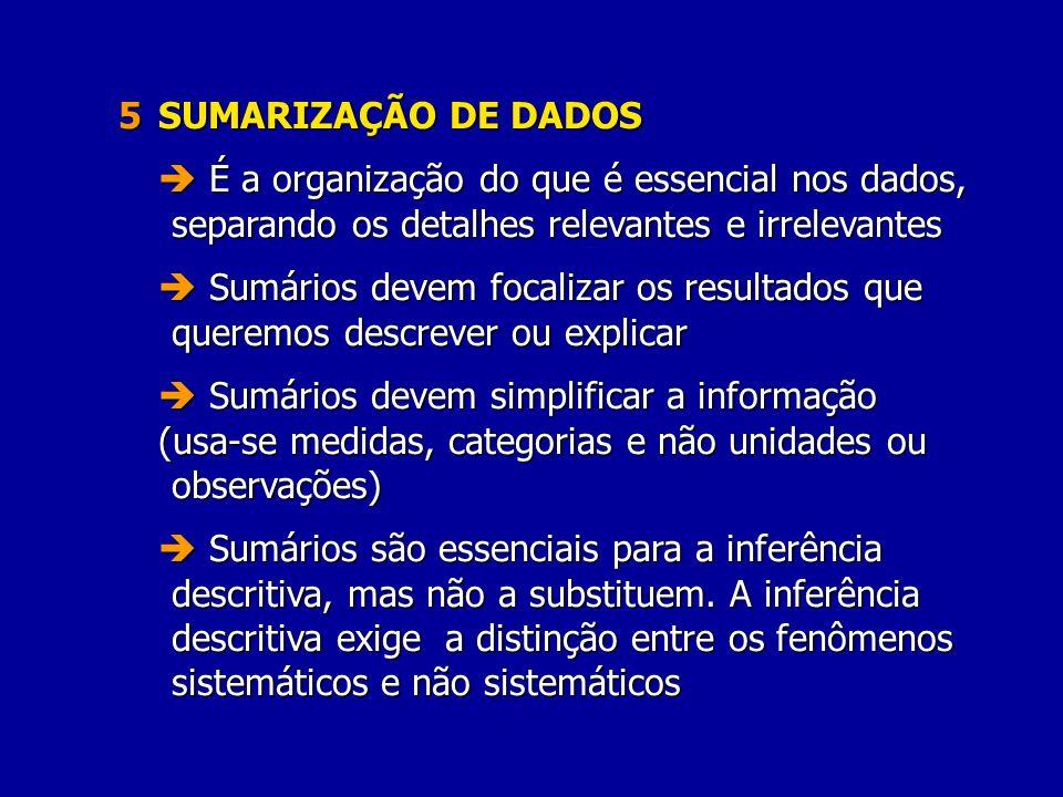 5 SUMARIZAÇÃO DE DADOS É a organização do que é essencial nos dados, separando os detalhes relevantes e irrelevantes É a organização do que é essencia