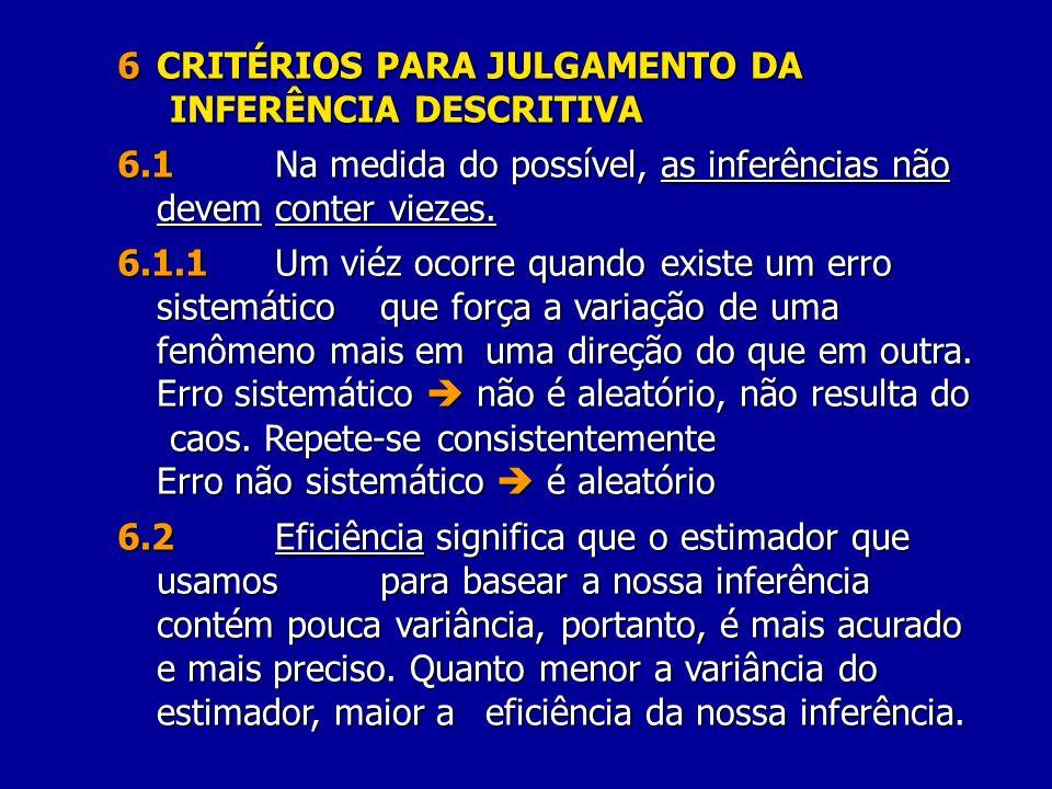 6CRITÉRIOS PARA JULGAMENTO DA INFERÊNCIA DESCRITIVA 6.1Na medida do possível, as inferências não devem conter viezes. 6.1.1Um viéz ocorre quando exist