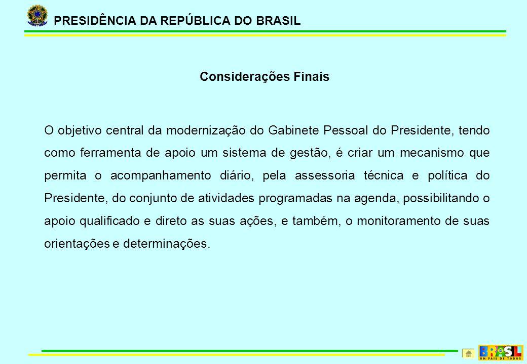 PRESIDÊNCIA DA REPÚBLICA DO BRASIL O objetivo central da modernização do Gabinete Pessoal do Presidente, tendo como ferramenta de apoio um sistema de