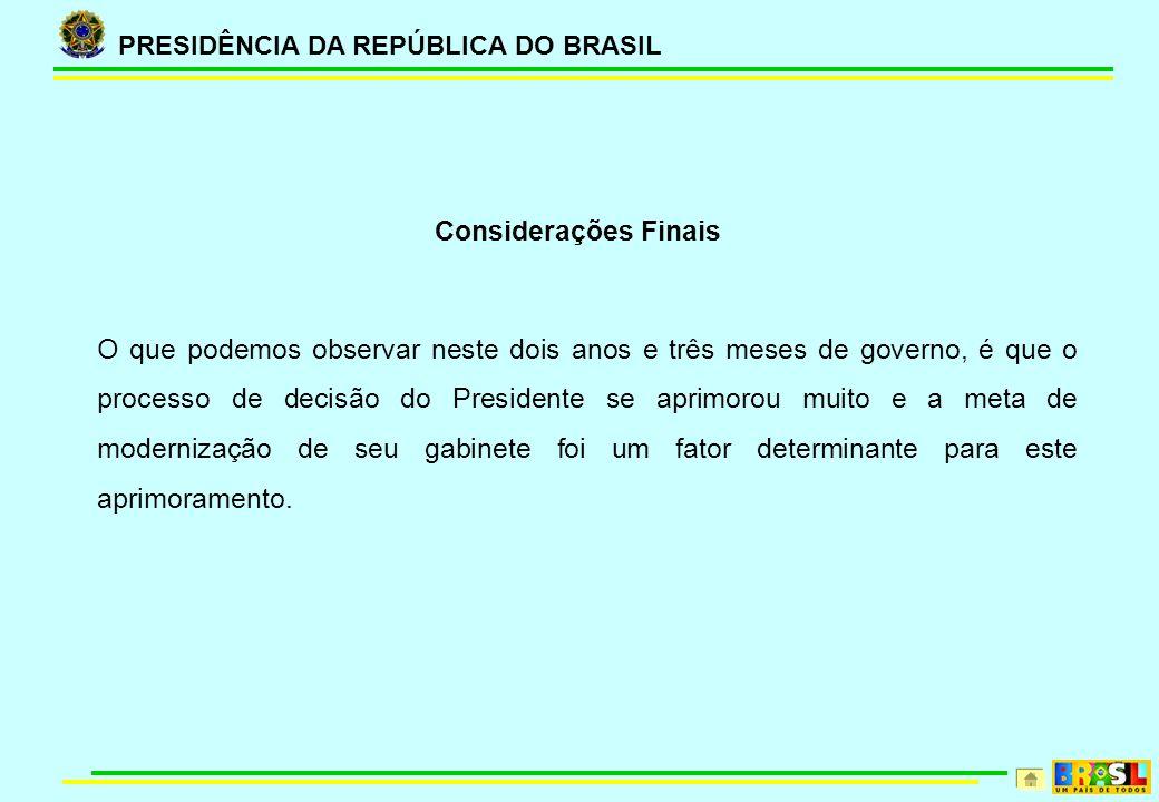 PRESIDÊNCIA DA REPÚBLICA DO BRASIL Considerações Finais O que podemos observar neste dois anos e três meses de governo, é que o processo de decisão do Presidente se aprimorou muito e a meta de modernização de seu gabinete foi um fator determinante para este aprimoramento.