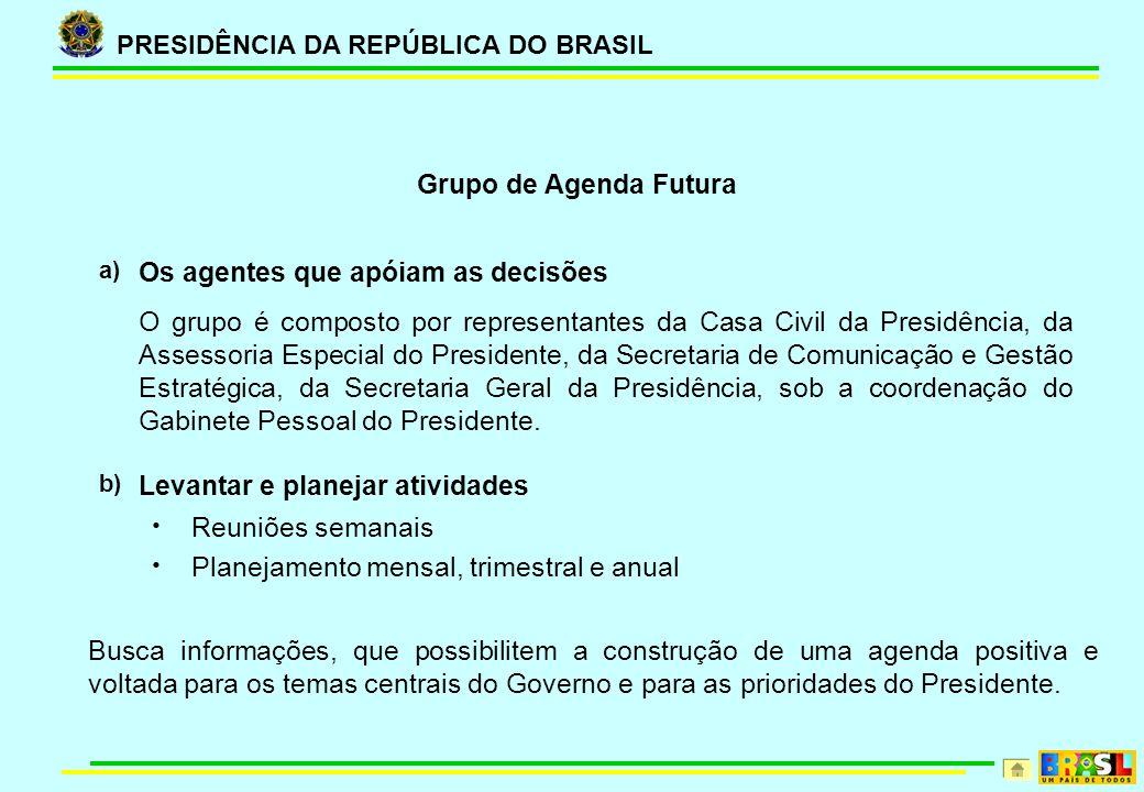 PRESIDÊNCIA DA REPÚBLICA DO BRASIL Grupo de Agenda Futura a) Os agentes que apóiam as decisões O grupo é composto por representantes da Casa Civil da