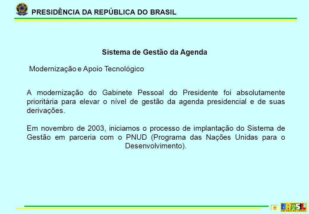 PRESIDÊNCIA DA REPÚBLICA DO BRASIL Sistema de Gestão da Agenda A modernização do Gabinete Pessoal do Presidente foi absolutamente prioritária para elevar o nível de gestão da agenda presidencial e de suas derivações.