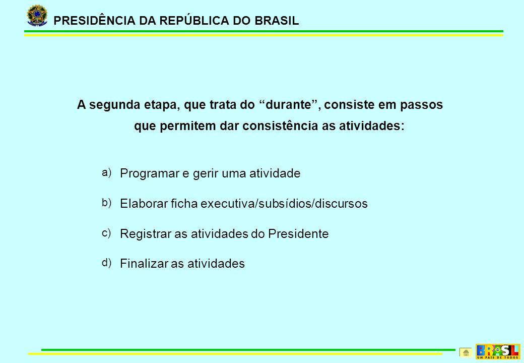 PRESIDÊNCIA DA REPÚBLICA DO BRASIL A segunda etapa, que trata do durante, consiste em passos que permitem dar consistência as atividades: a) Programar