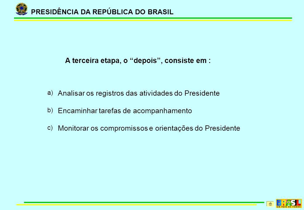 PRESIDÊNCIA DA REPÚBLICA DO BRASIL A terceira etapa, o depois, consiste em : a) Analisar os registros das atividades do Presidente b) Encaminhar tarefas de acompanhamento c) Monitorar os compromissos e orientações do Presidente