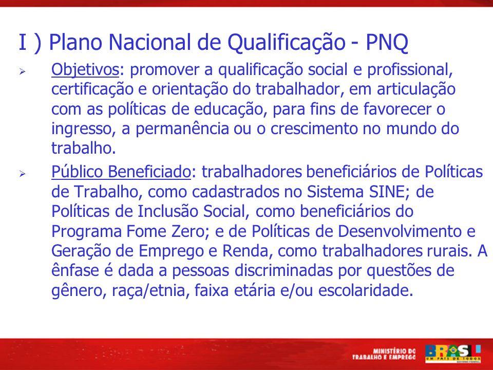 I ) Plano Nacional de Qualificação - PNQ Objetivos: promover a qualificação social e profissional, certificação e orientação do trabalhador, em articulação com as políticas de educação, para fins de favorecer o ingresso, a permanência ou o crescimento no mundo do trabalho.