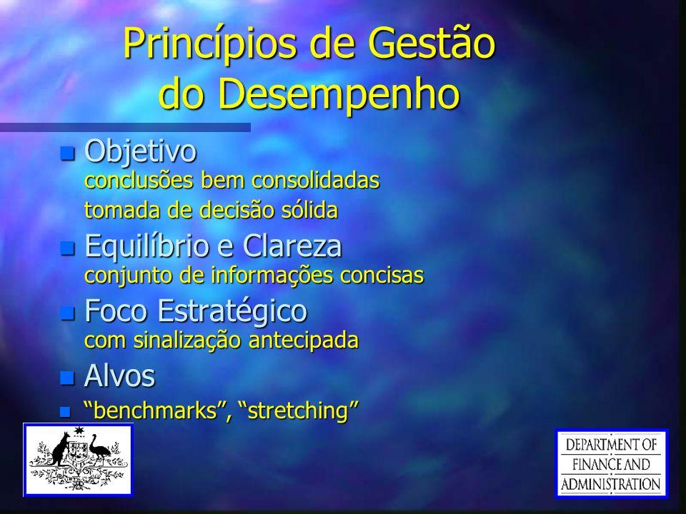 Princípios de Gestão do Desempenho n Objetivo conclusões bem consolidadas tomada de decisão sólida n Equilíbrio e Clareza conjunto de informações conc