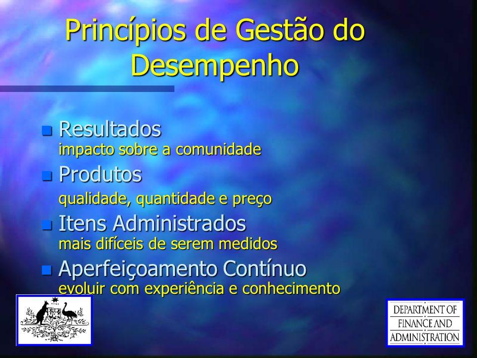 Princípios de Gestão do Desempenho n Resultados impacto sobre a comunidade n Produtos qualidade, quantidade e preço n Itens Administrados mais difícei