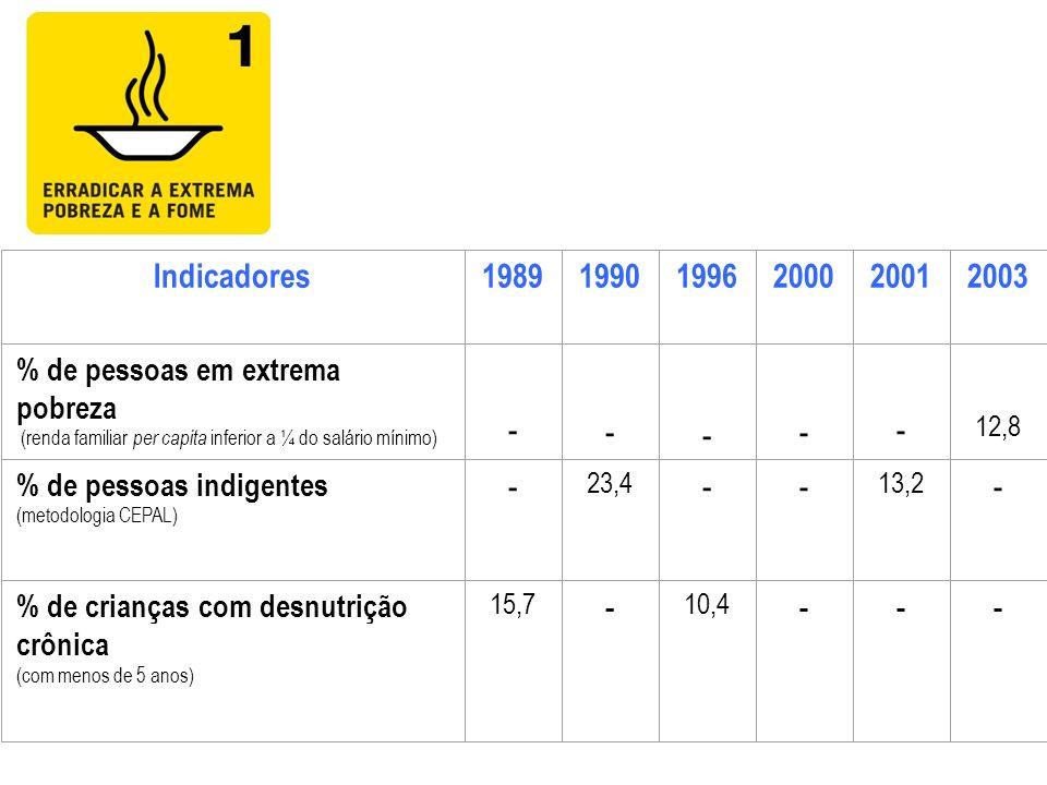 Indicadores198919901996200020012003 % de pessoas em extrema pobreza (renda familiar per capita inferior a ¼ do salário mínimo) - - - - - 12,8 % de pes