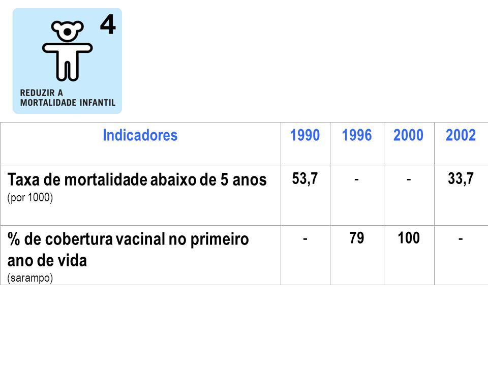 Indicadores1990199620002002 Taxa de mortalidade abaixo de 5 anos (por 1000) 53,7 -- 33,7 % de cobertura vacinal no primeiro ano de vida (sarampo) - 79