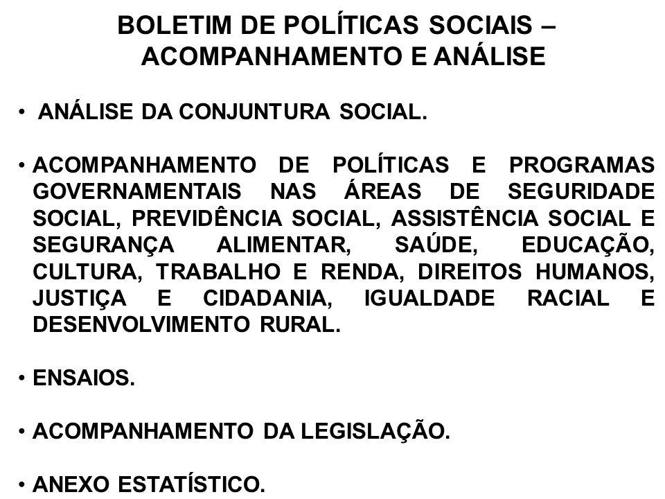 BOLETIM DE POLÍTICAS SOCIAIS – ACOMPANHAMENTO E ANÁLISE ANÁLISE DA CONJUNTURA SOCIAL. ACOMPANHAMENTO DE POLÍTICAS E PROGRAMAS GOVERNAMENTAIS NAS ÁREAS