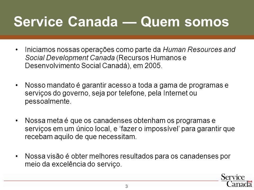 4 Service Canada – Fatos Sucintos * 620 PONTOS DE Serviço 329 Centros da Service Canada (101 dos quais também oferecem serviços de passaporte) 227 Locais de Maior Alcance Programados 64 Escritórios Comunitários da Service Canada Mais de $70 bilhões pagos em benefícios 53,3 milhões de telefonemas recebidos nos call centres 22,3 milhões de acessos ao servicecanada.gc.ca 9,3 milhões de visitas pessoais 250 mil canadenses beneficiados em comunidades remotas 55 mil organizações comunitárias apoiadas * 2006-2007